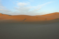 Shadows on the sand dunes of Verzaneh, Iran