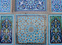 Beautiful work on the walls of the Jame Mosque, Yazd, Iran