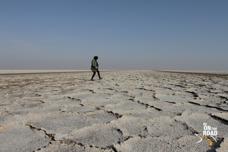 Walking carefully on the salt flats of Maranjab, Iran
