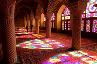 Gorgeous colors inside the Pink Mosque, Shiraz, Iran