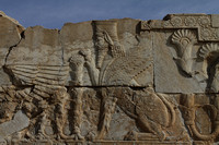 winged human faced lion guardian at persepolis, Iran