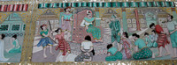 Burmese Buddhist History depicted on the wall of the Shwe Tha Lyuang Temple, Bago, Burma