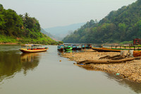 Boat Ferries on the Nam Ou river at Muang Khua, Laos