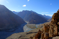 Confluence of Pin and Spiti rivers illuminated by the setting sun at Dhankar