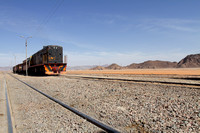 The historic train that plies through the desert of Wadi Rum, Jordan