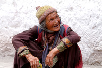 An elderly Buddhist local woman attending the Hemis Monastery Festival of Ladakh