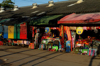 Shops at Aranyaprathet's border market, Thailand