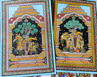 Beautiful Raghurajpur Pattachitra of Krishna and his gopikas in an elephant and horse form