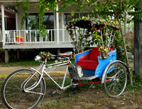 A Flowery Cycle Rickshaw at Ban Pai Riverside Hotel Property