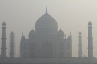 A foggy view of the Taj Mahal from Mehtab Bagh, Agra