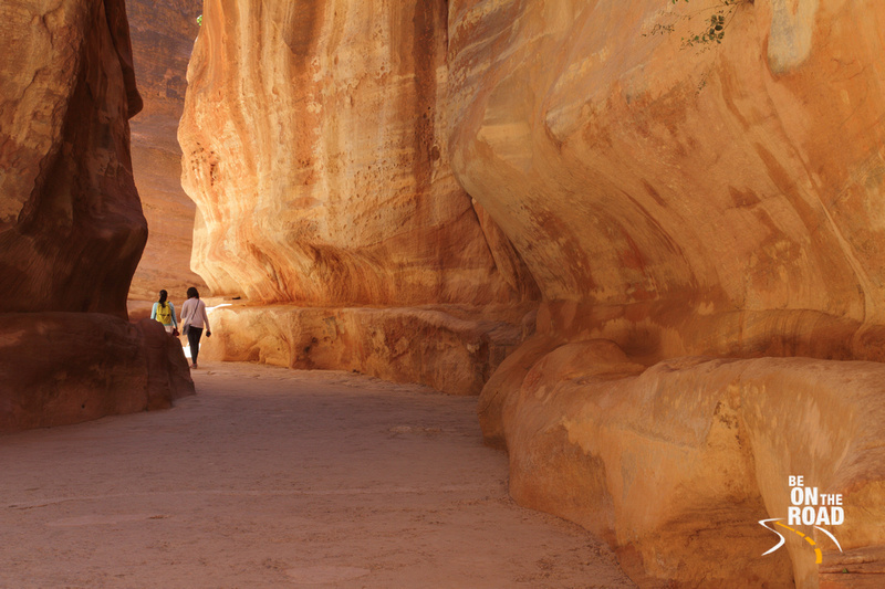 Walking through the Siq of Petra, Jordan