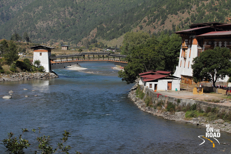 Cantilever bridge next to Punakha Dzong, Bhutan