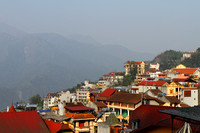 A roof top view of mountainous Sapa, Vietnam