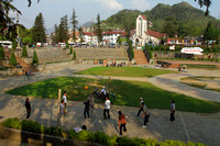 Locals enjoy a game of volley ball at Sapa's Square