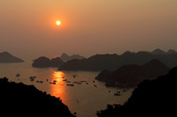 Sunset colors at Halong Bay, Vietnam