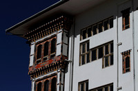 Windows on a traditional Bhutanese building