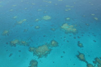Great Barrier Reef as seen from a plane from Cairns