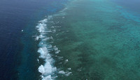 Waves hitting the Great Barrier Reef, Australia
