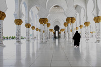 Walking along the corridors of the beautiful Sheikh Zayed Grand Mosque