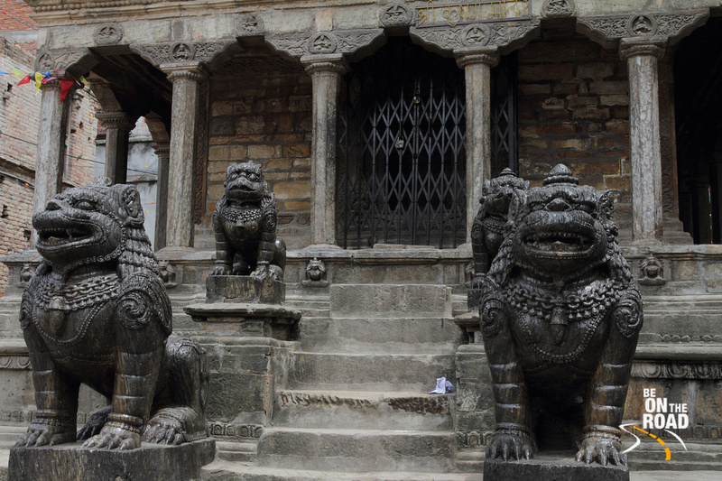Guardian Lions in front of a temple at Patan Heritage zone