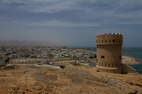 Watchtower that offers aerial view of Sur town, Oman