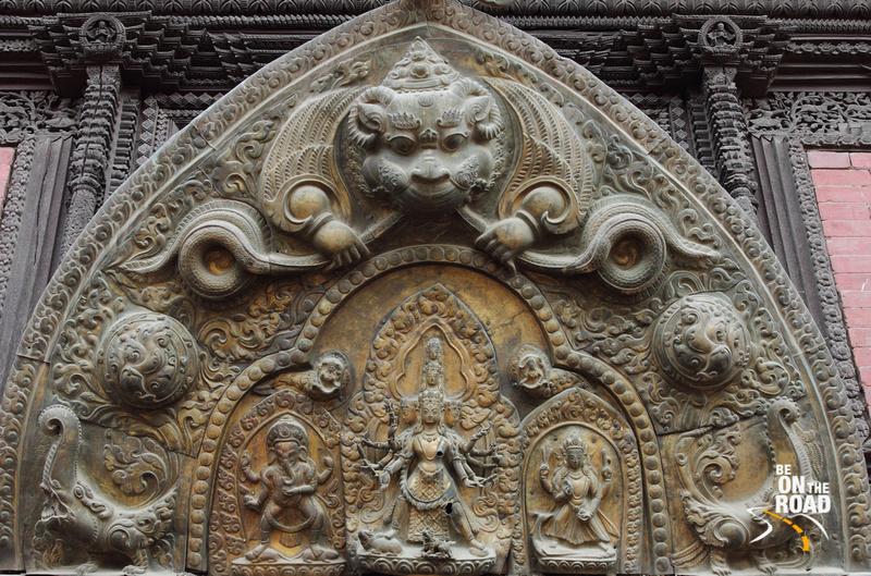 Beautiful metal carving at the Patan Palace
