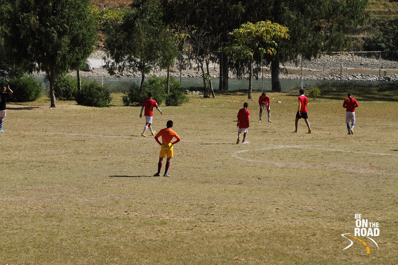 Game of soccer being played at Punakha, Bhutan
