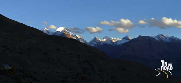 Sunset over the snow capped mountains at Dhankar, Spiti Valley