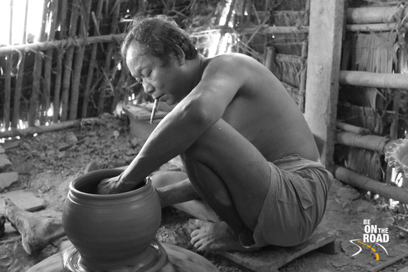 A Twante, Burma Pottery man at work