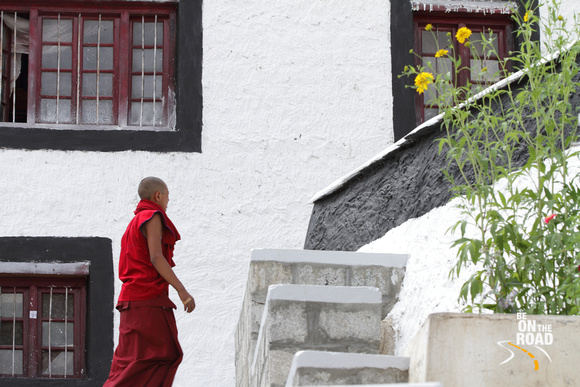 Young monk climbs up the stairs of Thiksey monastery, Ladakh