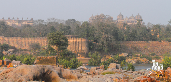 Orchha Fort as seen from the other bank of the Betwa river, Madhya Pradesh, India