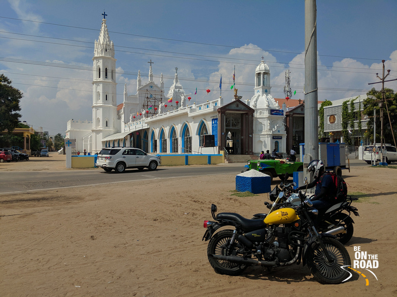 Pitstop in front of Basilica of our Lady of Snows, Tuticorin