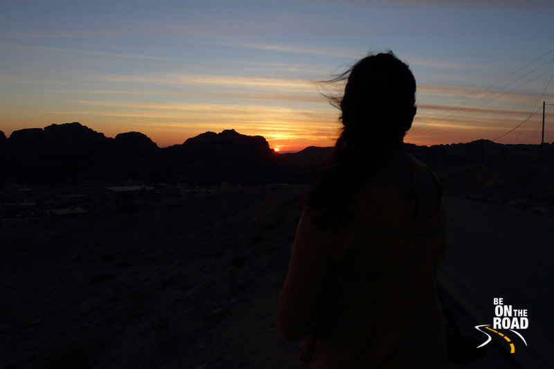 Watching a gorgeous sunset from the Petra highway, Jordan