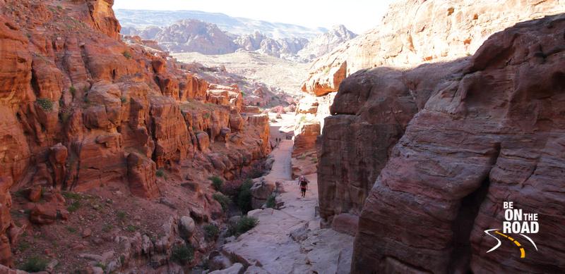 Trekking up the rocks of Petra, Jordan