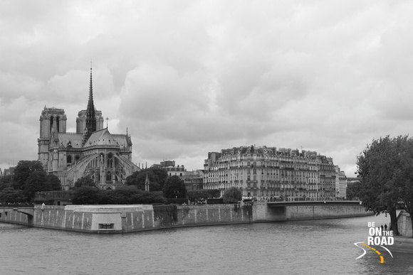 Notre Dame Cathedral seen from the river Seine, Paris