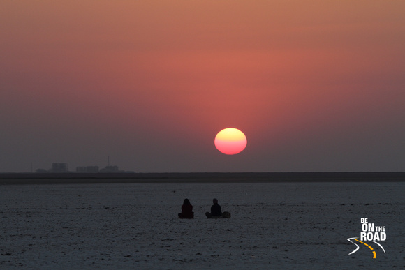 A gorgeous white rann sunset, Great Rann of Kutch, Gujarat, India