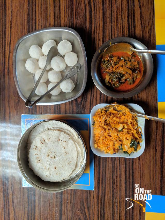 Yummy breakfast of Akki Roti, Kadubu, Kessa greens and Young Bamboo shoots at Athihally, Malanadu, Karnataka