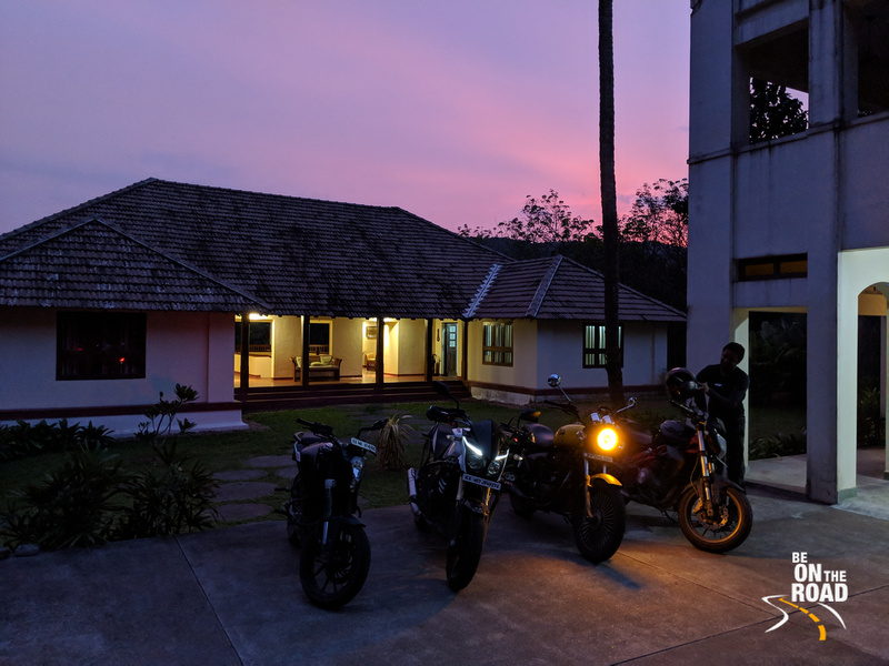 Sunset colors during a motorcycle holiday to Windermere River House, Kerala