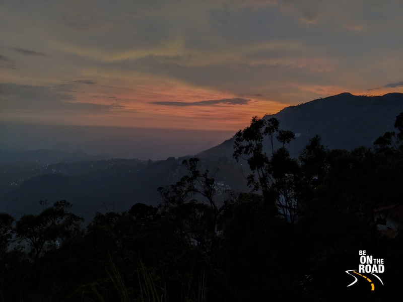 Sunset colors seen from the peak at Windermere Estate, Munnar