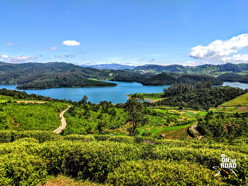 Emerald lake surrounded by tea  estates, pine forests and vegetable farms