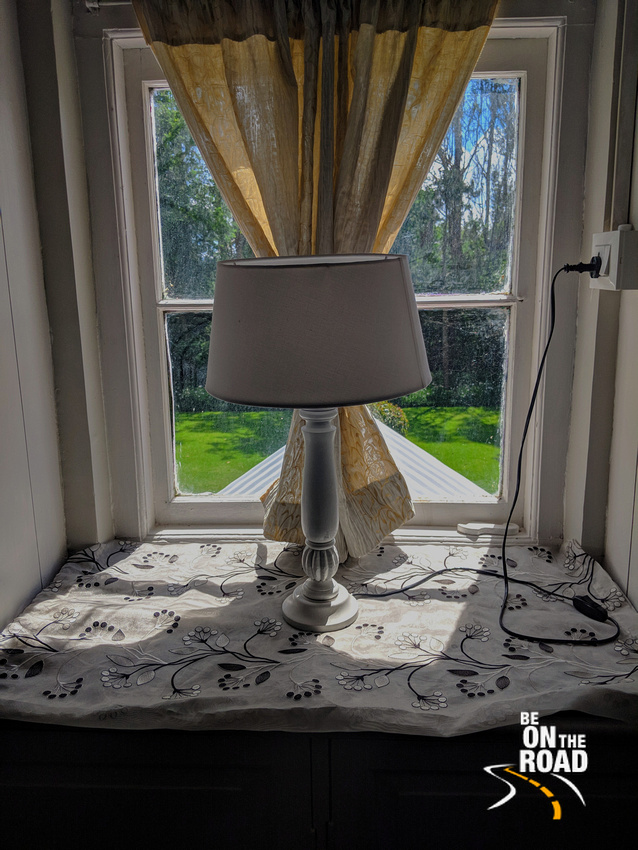 The lampshade and the green view