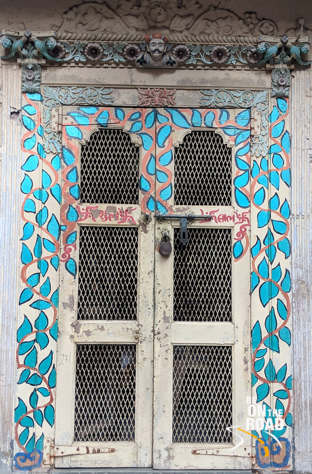 The Colorful door with the Peshwa turban man in Amdavad heritage city