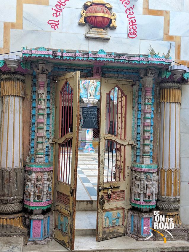 Colorful temple door seen during Ahmedabad Heritage Walk
