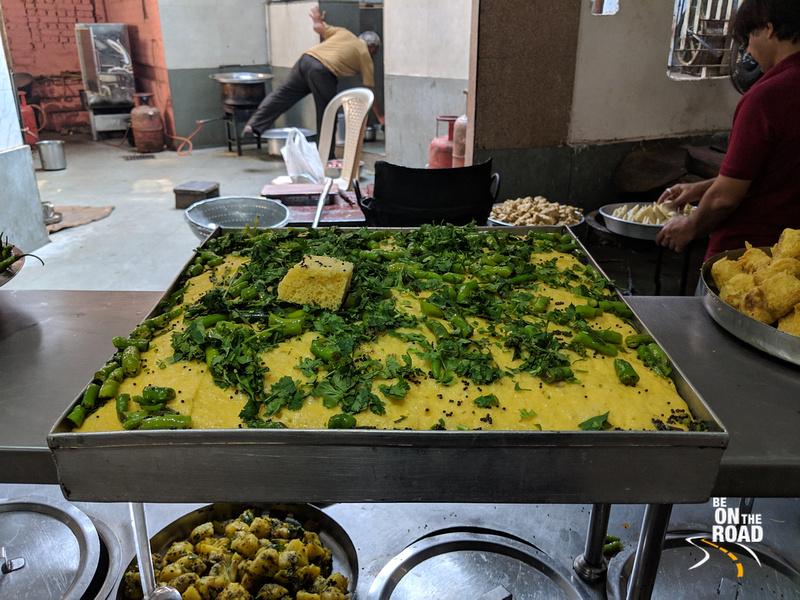 Fresh tasty Khaman on offer at Chandravilas Restaurant, Ahmedabad