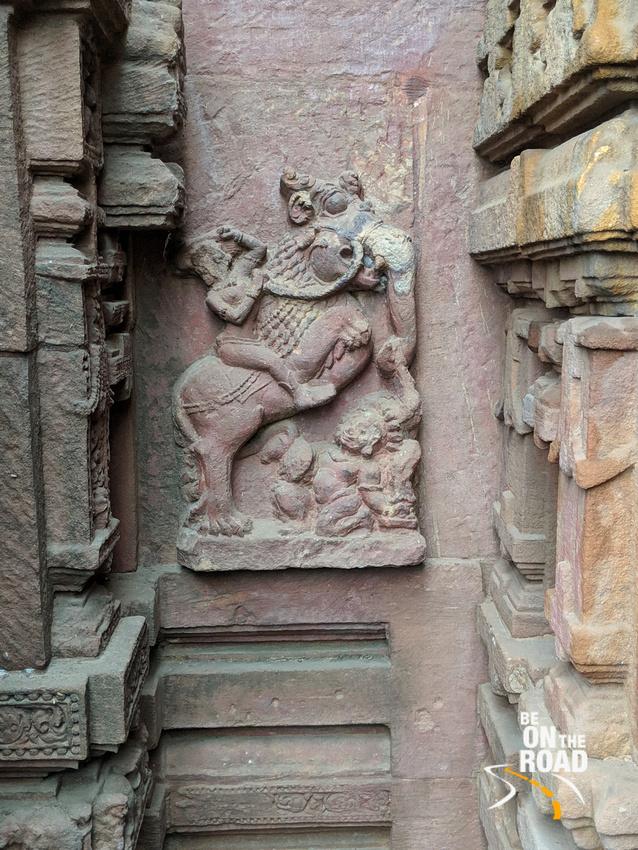 Lion-Elephant combo animal on the walls of Mukteshwar Temple, Bhubaneshwar