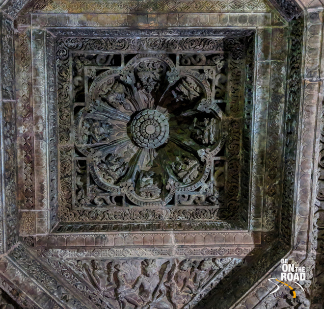 The intricately carved ceiling of Mukteshwar Temple, Odisha