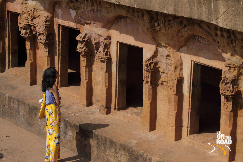 Enjoying the view of the sculptures at Udayagiri caves, Odisha