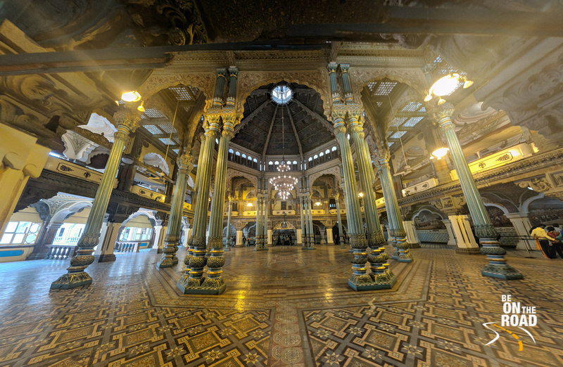 A wide view of a hall inside Mysore Palace