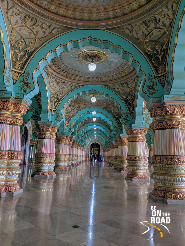 Gorgeous pillars and arches of public durbar hall of Mysore Palace