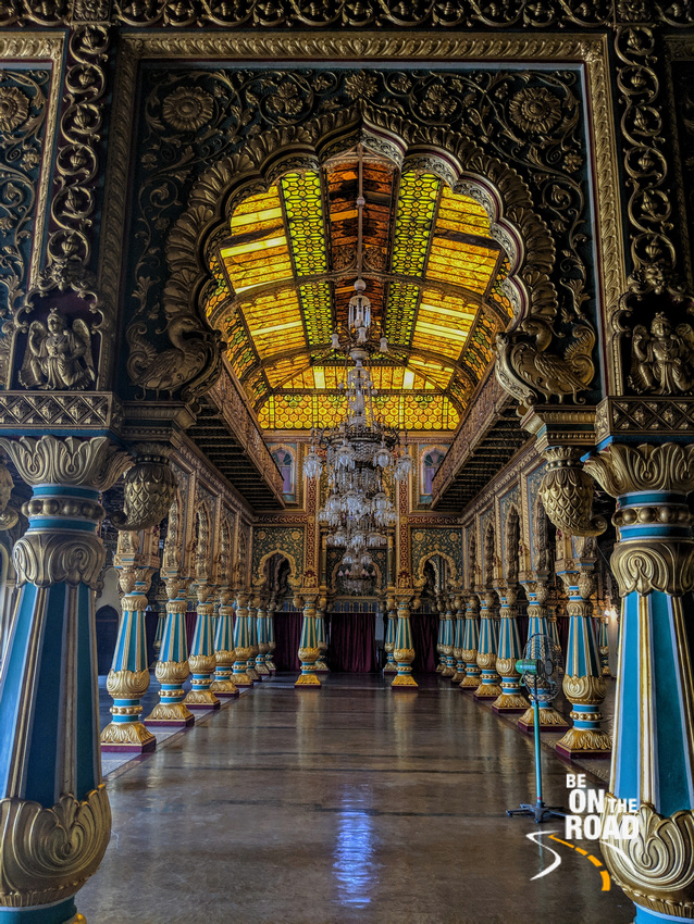 Intricate work in the private durbar hall of Mysore Palace